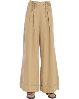 Gaucho Wide Leg Twill Trousers