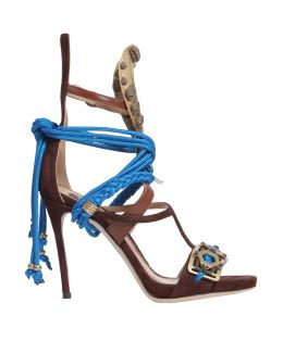 Samurai Leather Sandal With Metal Inserts