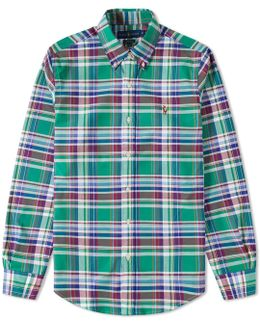 Slim Fit Button Down Check Oxford Shirt