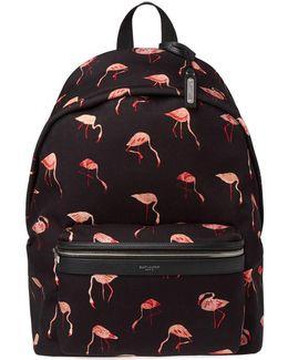 Flamingo Print Canvas Backpack