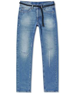 Diagonal Window Slim Ripped Jean