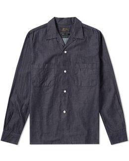 Open Collar Denim Shirt