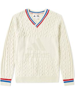 Adidas X Pharrell Williams Us Open Cable V Neck Knit
