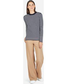 The Merino Wool Stripe High Crew Sweater
