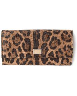 Zip-around Wallet In Leopard Textured Leather