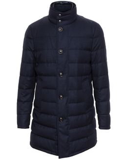 Flannel Quilted Wool Puffa Coat