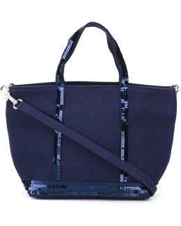 Small Sequin Trim Shopping Tote