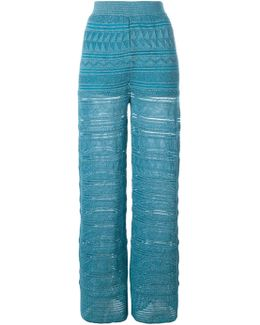 Metallic Knit Straight Trousers