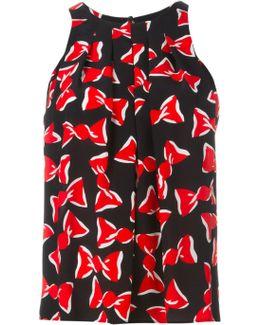 - Bow Print Pleated Top - Women - Silk - 40