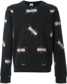 Ant-print Cotton Sweatshirt