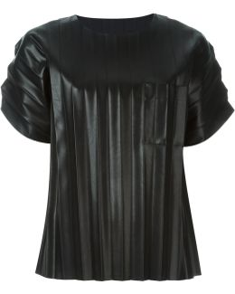 Pleated Artificial Leather T-shirt