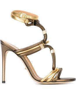 Metal Appliqué Strappy Sandals