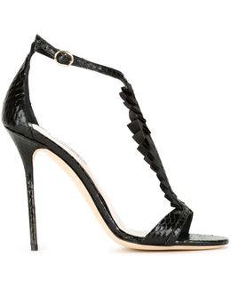 Pleat Appliqué Stiletto Sandals