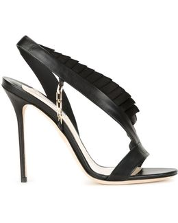 Pleat-Trimmed Stiletto Sandals