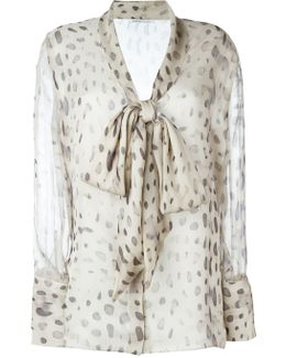 Sheer Printed Pussy Bow Blouse