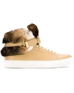 Rabbit Fur Detail Hi-top Sneakers