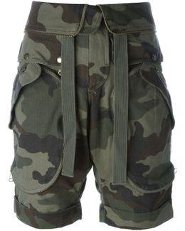 Camouflage Print Cargo Shorts