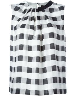 Checked Pleated Asymmetric Wide Tank Top