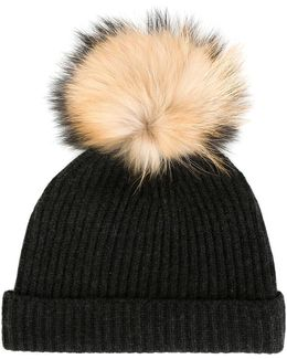 Detachable Pompom Ribbed Hat