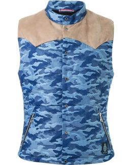 Shoulder Panel Detail Camouflage Padded Sleeveless Jacket