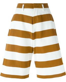 Striped Wide Leg Knee-length Shorts