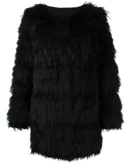 Marmot And Lamb Fur Feathered Coat