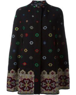 Cross-stitch Jacquard Wool Mix Cape