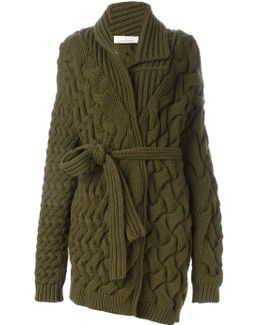 Cable Knit Belted Cardigan