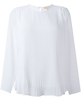 Pleated Panel Sheer Blouse