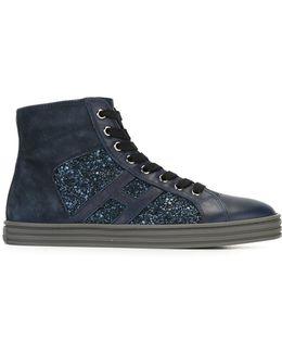 Sequin Embellished Hi-top Sneakers