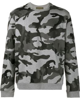 Camouflage Printed Cotton Sweatshirt