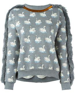 Duck Print Fringed Sweatshirt