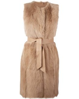Sleeveless Belted Mid-length Coat