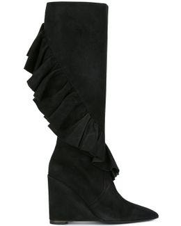 Ruffled Wedge Boots