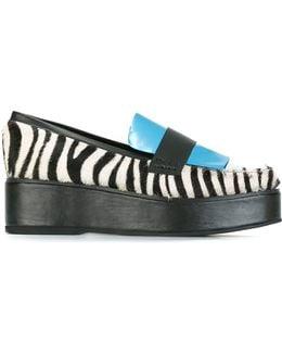 Paneled Flatform Zebra Print Leather and Calf Hair Loafers