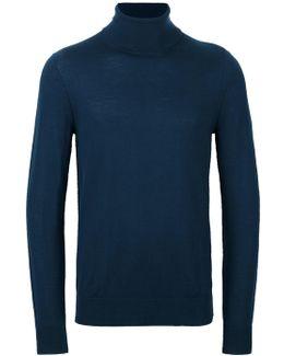 Mock-collar Sweater W/ Nylon Elbow Patches