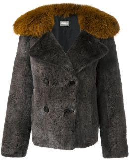Double-Breasted Fox and Mink Fur Short Coat