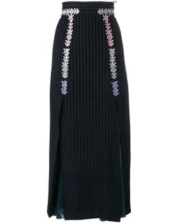 Velvet Stripe Midi Skirt