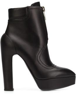 High-Heel Leather Zip Boots