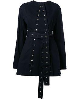 Eyelet-Detail Cotton Belted Jacket