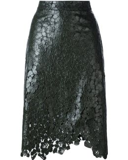 Lace Overlay Wrap Skirt