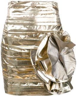Metallic Bow Detail Mini Skirt