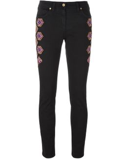 Embroidered Side Skinny Trousers