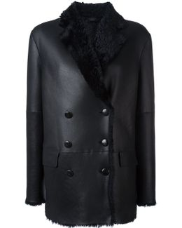 Double Breasted Shearling Peacoat