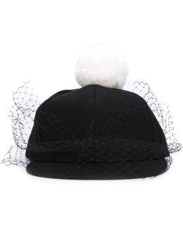 Pompom Veil Cap