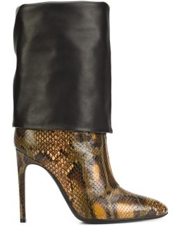 Snakeskin-Effect Leather Boots