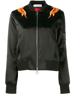Embroidered Flame Bomber Jacket