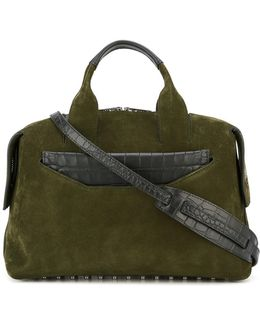 Rogue Suede And Croc-Embossed Leather Tote