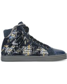 Woven Lace-up Hi-tops