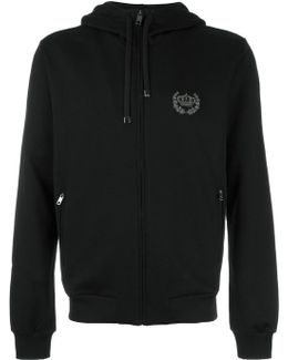 Embroidered Crown Zip Hoodie